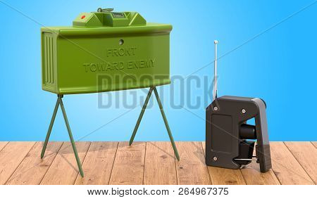 Anti-personnel Mine On The Wooden Table, 3d Rendering