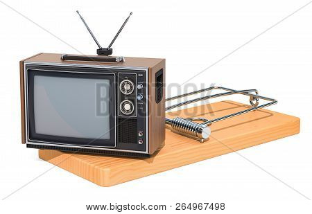 TV set inside mousetrap. TV dependence concept, 3D rendering isolated on white background poster