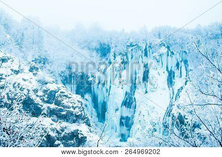 Croatia, Plitivice, Big Waterfalls, Frozen In Winter In Popular Nature Park Plitvicka Jezera, Fairy