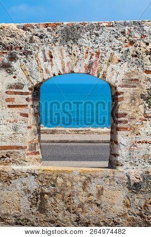 Ocean Seen Through The Embrasure Of The City Walls In The Cartagena De Indias