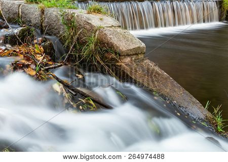 Waterfall Mountain View Close Up. Mountain River Waterfall Landscape. Waterfall River Scene