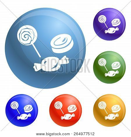 Halloween Candy Icons Set Vector 6 Color Isolated On White Background
