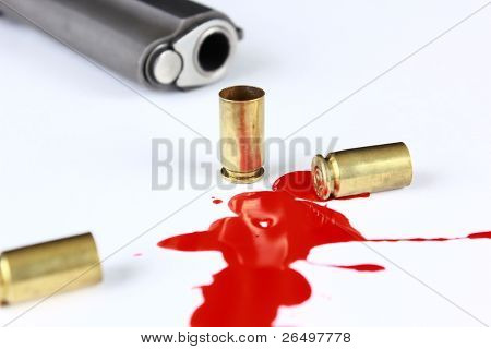 Cartridges, blood pool, and pistol