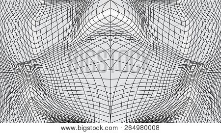Distorted Surface. Abstract Wavy Twisted Distorted Lines Grid Net Black And White Texture. Geometric