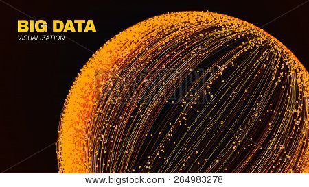 Concept Of Communication And Big Data Stream. 3d Round With Wave Lines And Dots. Abstract Digital Vi
