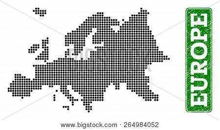 Dotted Map Of Europe And Rubber Caption. Vector Green Title Inside Rounded Rectangle And Corroded Ru