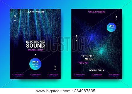 Abstract Sound Poster With Wave Amplitude And Distorted Rounds. Music Flyer Wave Concept. Vector Sou