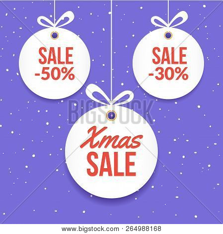 Christmas Ball Tag Special Price Offer Vector Circle Card. New Year Banner For Christmas Sale.