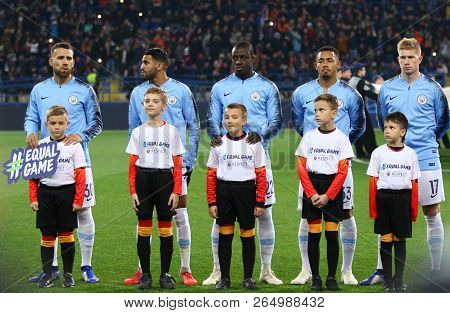 Kharkiv, Ukraine - October 23, 2018: Manchester City Players Listen To Champions League Anthem Befor