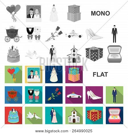 Wedding And Attributes Flat Icons In Set Collection For Design. Newlyweds And Accessories Vector Sym