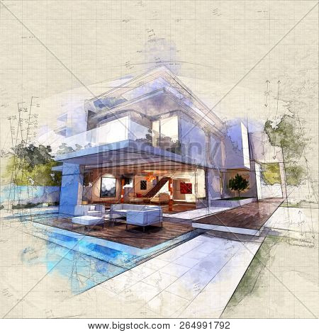 Illustration of  a contemporary house with pool at dusk 3D rendering