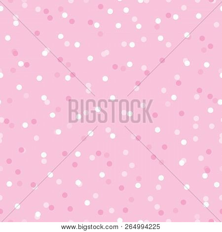 Baby Girl Pink Confetti Dots Seamless Pattern. Great For Baby Girl And Nursery Fabric, Wallpaper, Gi