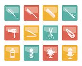 Hairdressing, coiffure and make-up icons over colored background- vector icon set poster