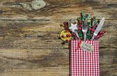 Christmas table place setting with tag and spanish text Feliz Navidad, means Merry Christmas poster