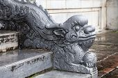 Dragon-shaped handrail in Hue Imperial Palace, Vietnam poster