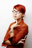 Portrait of pensive caucasian Business Woman with red hair poster