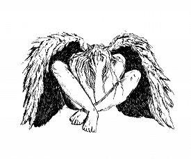 Fallen Angel With Black Wings Sitting On The Floor. Mystic Dark Fantasy. Ink Hand Drawn Vector Illus