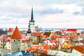 Panoramic View Of Old Part Of Tallin In Winter