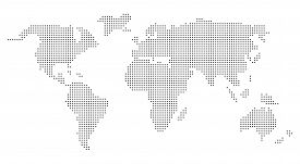 Pixel Dots Vector World Map In Grey. Dotted Grey World Map.