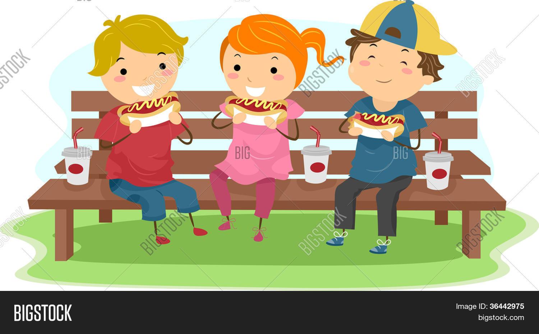 Vector Y Foto Ilustración De Niños Comiendo