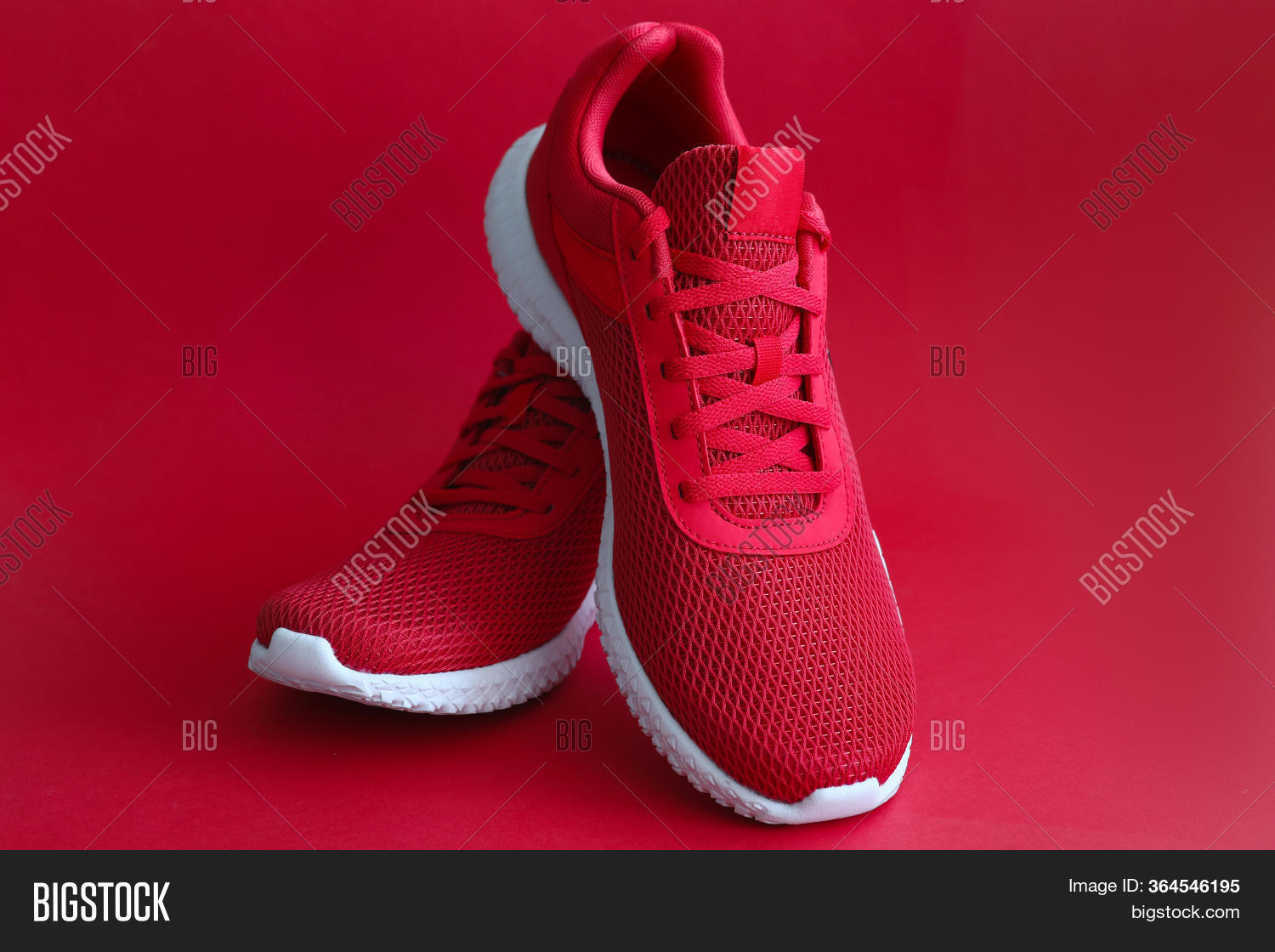 Close- Red Sneakers On Image \u0026 Photo