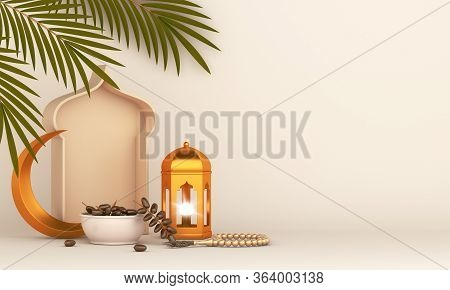 Dates Fruit And Leaves, Gold Lantern, Cresent, Islamic Background, Ramadan Kareem, Eid Al Fitr Adha,