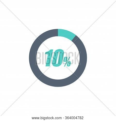 10% Circular Progress Loading Bar Isolated On White Background. Round Buffering Percentage Icon Coll