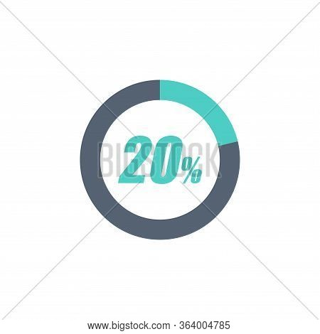 20% Circular Progress Loading Bar Isolated On White Background. Round Buffering Percentage Icon Coll