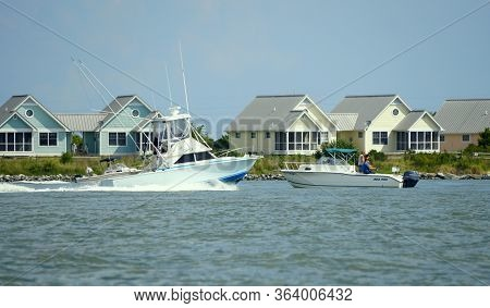 Bethany Beach, Delaware, U.s.a - September 2, 2019 - Fishing Boats On The Indian River Inlet In The
