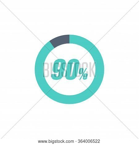 90% Circular Progress Loading Bar Isolated On White Background. Round Buffering Percentage Icon Coll