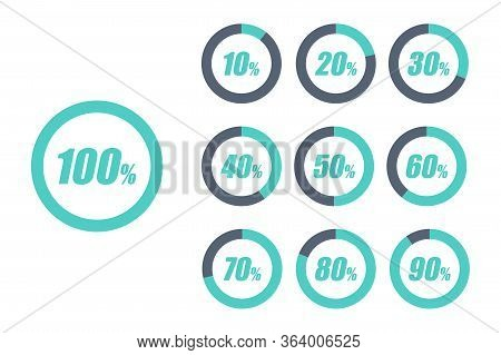 Set Of Circular Progress Loading Bar Isolated On White Background. Round Buffering Percentage Icon C