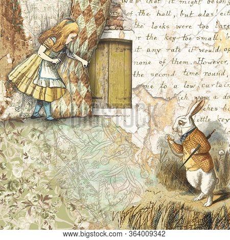 Alice In Wonderland Collaged Scrapbooking Paper Design