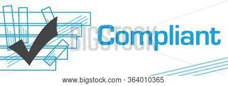 Compliant Text Written Over Blue Horizontal Background.