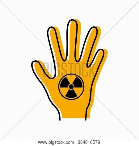 Dangerous Dose Of Radiation Of Limbs. Contour Silhouette Of Hand With Icon Radiation And Yellow Silh