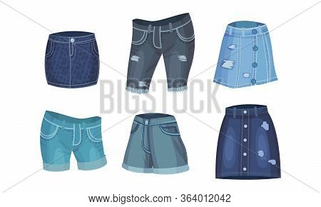 Denim Blue Clothing Items As Womenswear With Denim Skirt And Knee Breeches Vector Set