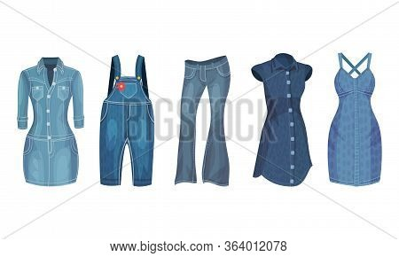 Denim Blue Clothing Items As Womenswear With Denim Dress And Overall Vector Set