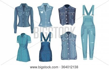 Denim Blue Clothing Items As Womenswear With Denim Vest And Jumpsuit Vector Set