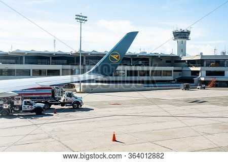 Frankfurt Germany 18.11.19 Condor Air Wing Of Airplane Winglet In Front Of The Airport Building