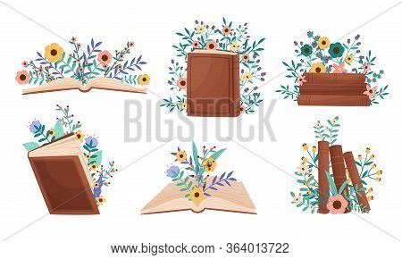 Opened And Closed Books Lying And Standing With Floral Compositions Behind Them Vector Set