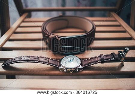 Wedding Details, Ideal Groom Accessories. Groom Set With Belt, Watches On Wooden Background. Wooden