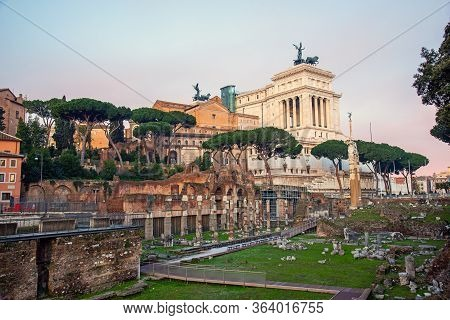 The Famous Ruins Of The Roman Forum  And The Victor Emmanuel Ii National Monument In Rome, Italy, Ea