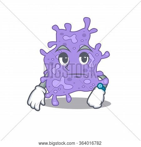 Mascot Design Of Staphylococcus Aureus Showing Waiting Gesture