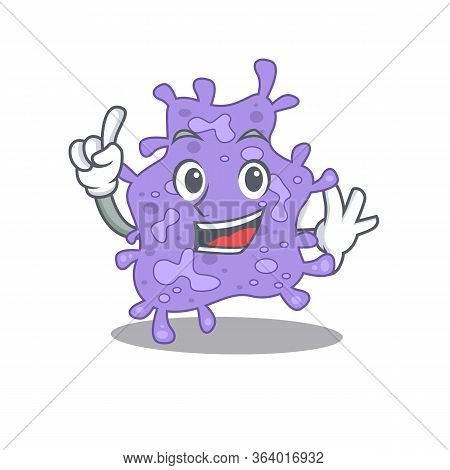 Staphylococcus Aureus Mascot Character Design With One Finger Gesture