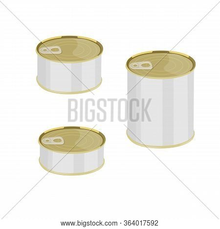Canned Food In Metal Cans. Canned Fish And Meat, Food Stocks, Vector Illustration