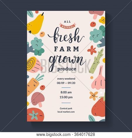 Farmers Market Lettering Poster, Calligraphy Placard For Agricultural Fair With Illustrations Of Fru