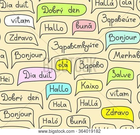 Hello, European Languages, Seamless Pattern, Contour Drawing, Light, Color, Vector. The Word