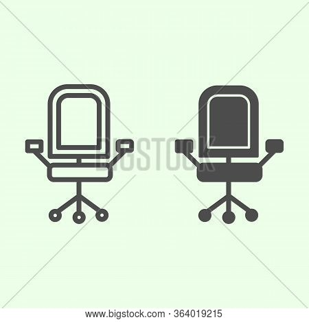 Office Chair Line And Solid Icon. Armchair With Wheels Comfortable Business Furniture Outline Style