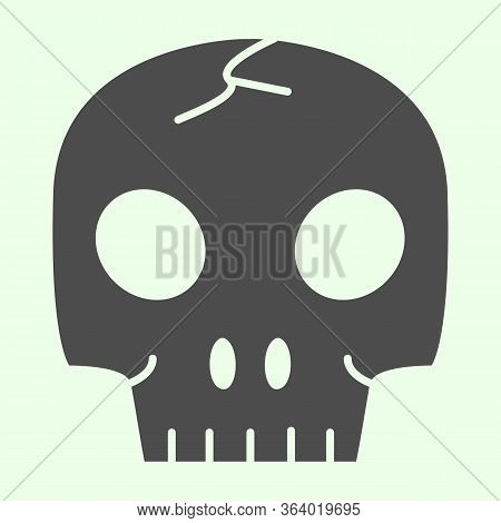 Skull Organ Solid Icon. Anatomical Human Head For Biology Study Glyph Style Pictogram On White Backg