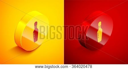 Isometric Bowling Pin Icon Isolated On Orange And Red Background. Circle Button. Vector Illustration