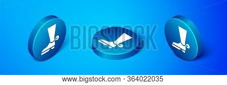 Isometric Cowboy Boot Icon Isolated On Blue Background. Blue Circle Button. Vector Illustration